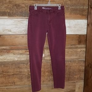 Old Navy Rockstar Maroon Mid Rise Jeans size 8